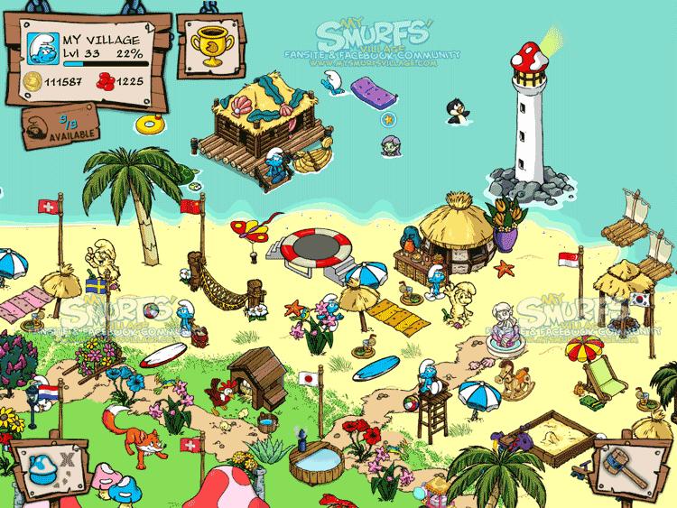 Smurfs' Village - посёлок смурфов. . Смурфы - добрые гномы, помощники